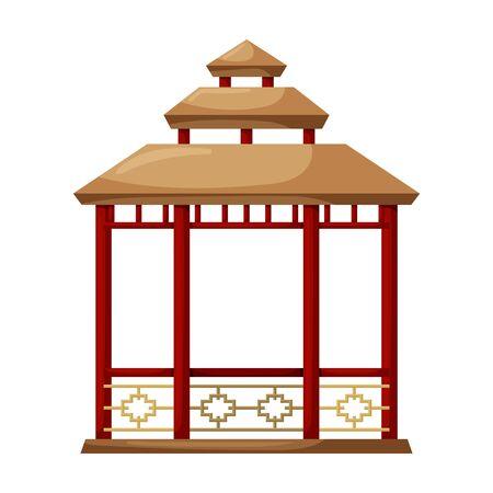 Wooden gazebo of pergola vector icon.