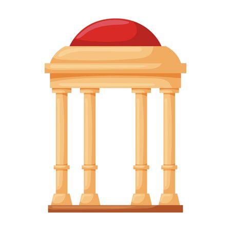 Wooden gazebo of pergola vector icon