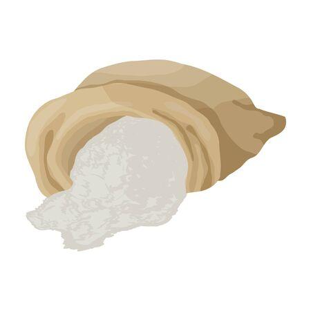 Bag of flour vector icon.