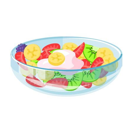 Bowl of fruit salad vector icon.
