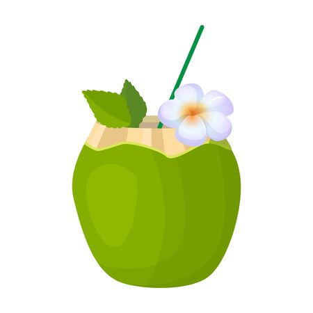 Cocktail of coconut vector icon.Cartoon vector  isolated on white background cocktail of coconut.