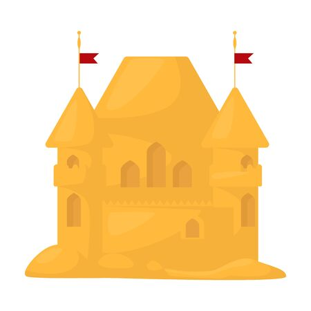Sand castle vector icon.Cartoon vector icon isolated on white background sand castle. Vector Illustration