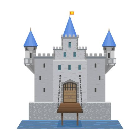 Castle vector icon.Cartoon vector icon isolated on white background castle. Vector Illustration