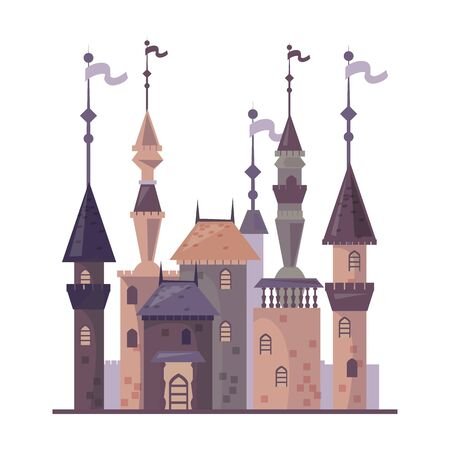 Medieval castle vector icon.Cartoon vector icon isolated on white background medieval castle.  イラスト・ベクター素材