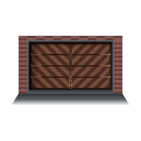 Garage door vector icon.Realistic vector icon isolated on white background garage door.