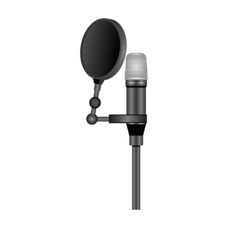 Microphone vector icon.Realistic vector icon isolated on white background microphone. 写真素材 - 143403312