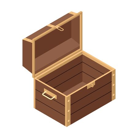 Open chest vector icon. Isometric vector icon isolated on white background open chest.
