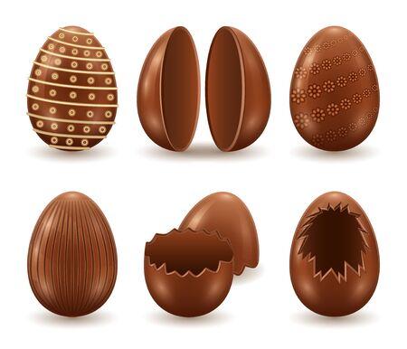 Chocolate egg isolated realistic set icon. Realistic set icon chocolate shell. Vector illustration egg surprise on white background.