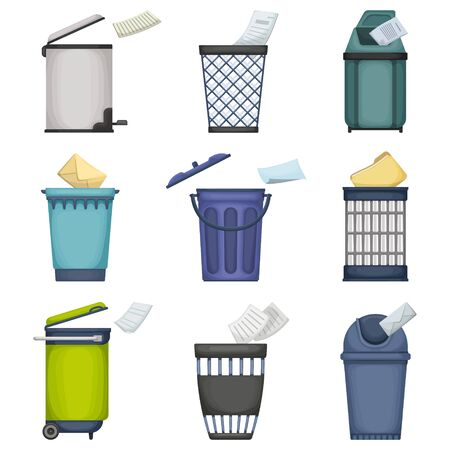 Can trash vector cartoon set icon. Vector illustration garbage basket on white background. Isolated cartoon set icons can trash.
