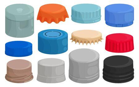 Bottle caps isolated cartoon set icon. Cartoon set icons lid of cover . Vector illustration bottle caps on white background. Vektorové ilustrace