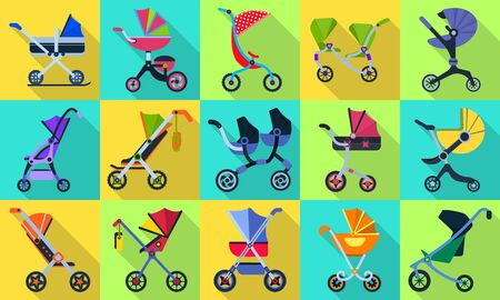 Baby carriage flat vector set icon.Illustration of isolated flat icon stroller for newborn.Vector illustration baby pram. 写真素材 - 143438964