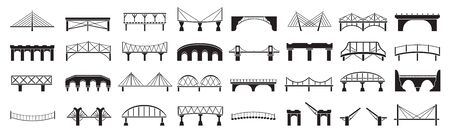 Bridge of construction vector black set icon.Vector illustration river architecture on white background .Isolated black set icon bridge of construction. Ilustracja