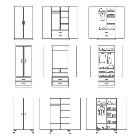Wooden cupboard isolated outline icon. Vector illustration room furniture of wardrobe on white background . Vector outline set icon room cupboard.