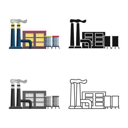 Isolated object of factory and building icon. Set of factory and station stock symbol for web.