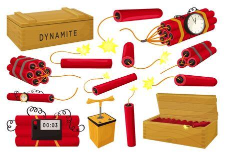 Dynamite vector illustration on white background. Vector cartoon set icon fuse explosive. Isolated cartoon set icons dynamite. Vetores