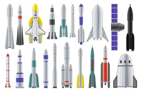 Space rocket vector cartoon set icon. Spaceship isolated cartoon set icon. Vector illustration space rocket on white background.
