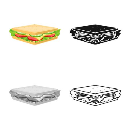 Vector design of burger and hoagie logo. Graphic of burger and toast stock symbol for web. Illustration