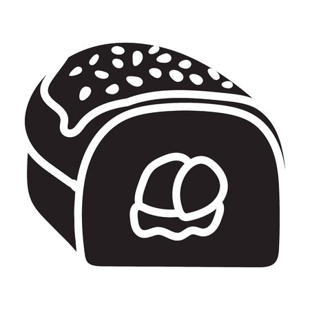 Sushi vector icon.Black vector icon isolated on white background japanese food.