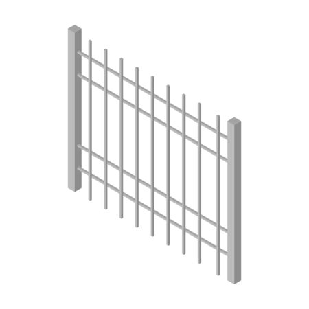 Fence vector icon. Isometric vector icon isolated on white background fence.