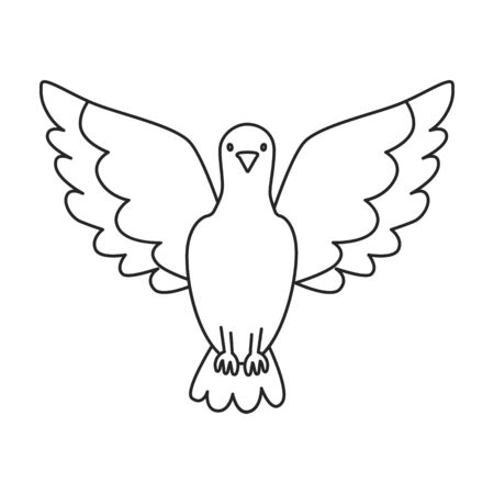 Dove of peace vector icon.Outline vector icon isolated on white background dove of peace.