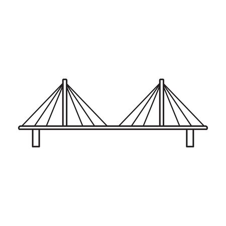 Bridge vector icon.Outline vector icon isolated on white background bridge.