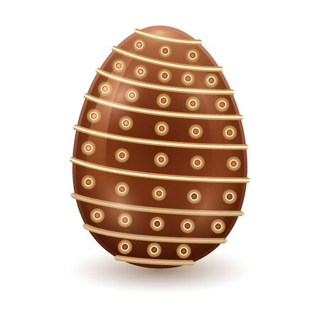 Chocolate egg vector icon. Realistic vector icon isolated on white background chocolate egg.
