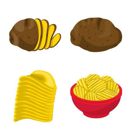 Vector illustration of chips and crisp sign. Collection of chips and food vector icon for stock.