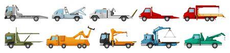 Truck tow isolated cartoon set icon. Vector illustration evacuator on white background. Vector cartoon set icons truck tow.
