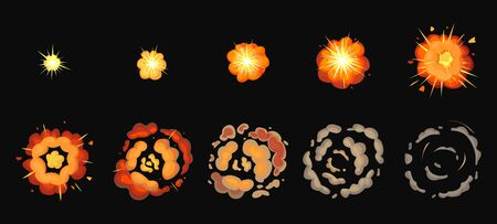 Explosion process isolated cartoon set icon. Vector illustration effect explode on white background. Vector cartoon set icons explosion process. Vettoriali