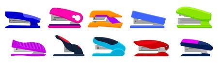 Stapler vector cartoon set icon. Isolated cartoon set icons stapling equipment. Vector illustration stapler on white background.