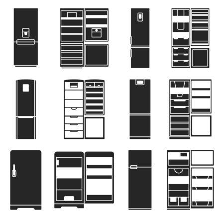 Illustration vectorielle de réfrigérateur noir. Icône de vecteur de réfrigérateur de cuisine. Ensemble noir isolé de réfrigérateur et congélateur moderne. Réfrigérateur d'icône isolé pour la nourriture.