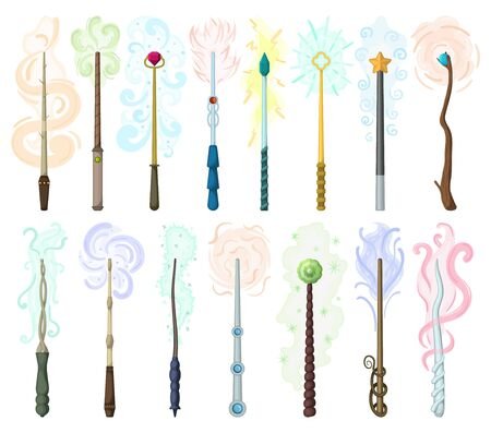 Magic wand isolated cartoon set icon. Cartoon vector set icons wizard stick . Vector illustration magic wand on white background.