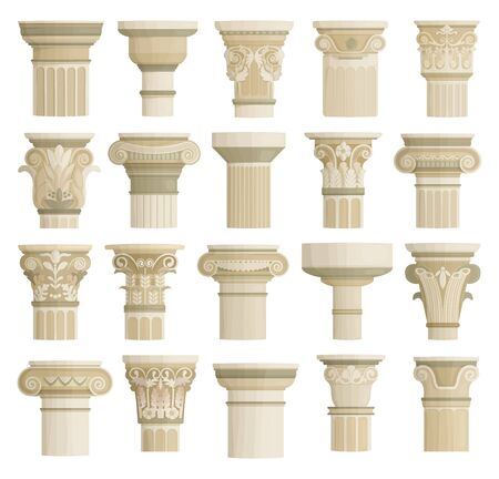 Top of column isolated cartoon set icon. Vector cartoon set icons antique pillar. Vector illustration top of column on white background.