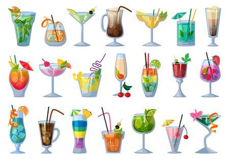 Illustrazione di vettore del cocktail di estate su priorità bassa bianca. Bevanda fresca dell'icona stabilita del fumetto di vettore. Cocktail di estate delle icone stabilite del fumetto isolato.