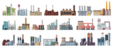 Industry factory isolated cartoon set icon. Vector cartoon set icons manufacturing of building. Vector illustration industry factory on white background. Vektorové ilustrace