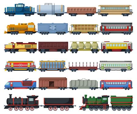 Locomotive avec icône de jeu de dessin animé isolé wagon. Caricature de vecteur mis icônes train de chemin de fer. Locomotive d'illustration vectorielle sur fond blanc.