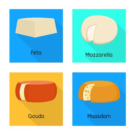 Vector illustration of breakfast and piece icon. Set of breakfast and product vector icon for stock.