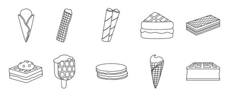 Cream waffle vector outline set icon.Vector illustration icon waffle cake.Isolated outline set of cream dessert and chocolate food.