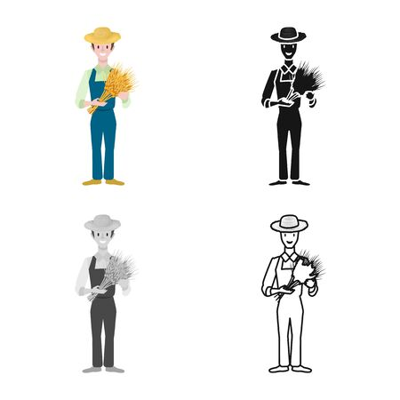 Vector illustration of man and farmer . Collection of man and rural stock symbol for web.