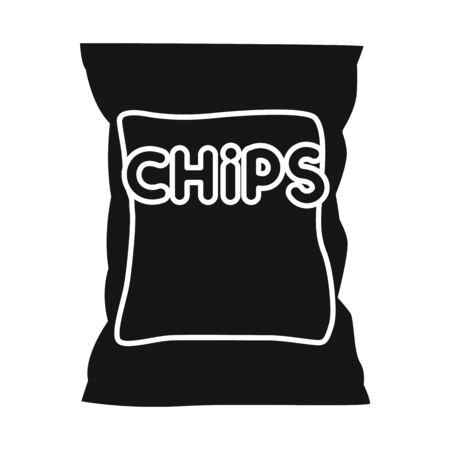 Vector design of chip and fluted icon. Web element of chip and crunchy stock vector illustration.