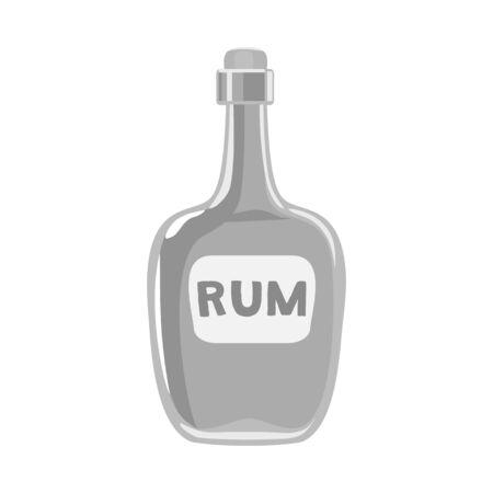 Vector design of bottle and rum symbol. Web element of bottle and bourbon stock vector illustration.