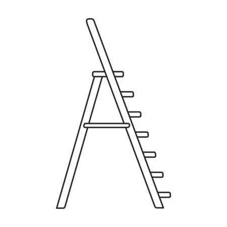 Stepladder vector icon.Outline vector icon isolated on white background stepladder . Illustration