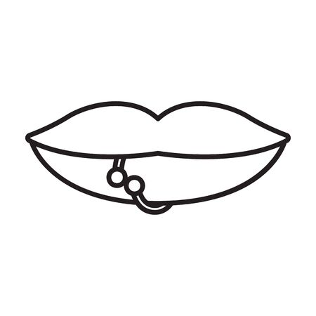 Piercings of tongue vector icon.Outline vector icon isolated on white background piercings of tongue.