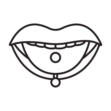 Piercings of tongue vector icon.Outline vector isolated on white background piercings of tongue.