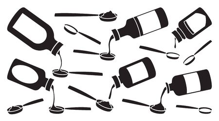 Bottle of syrup isolated vector Black set icon. Vector illustration medical oil on white background . Black set icon bottle of syrup. Illusztráció