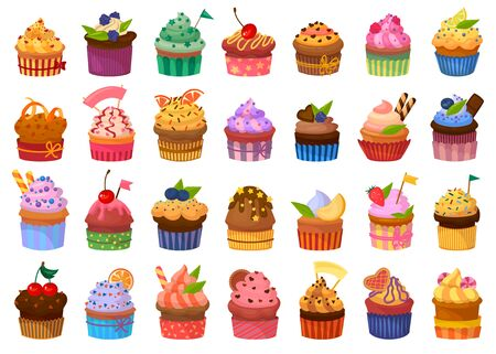 Cupcake isolated cartoon set icon. Vector illustration muffin on white background. Vector cartoon set icons cupcake . Vektorgrafik