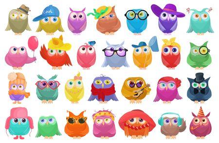 Owl vector cartoon set icon. Isolated cartoon set icons funny bird. Vector illustration owl on white background. Vecteurs