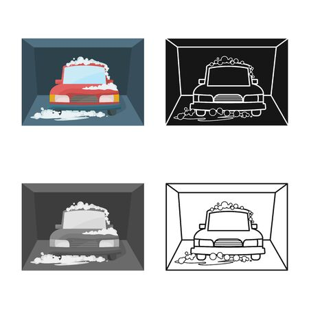 Isolated object of car and wash icon. Set of car and clean vector icon for stock.