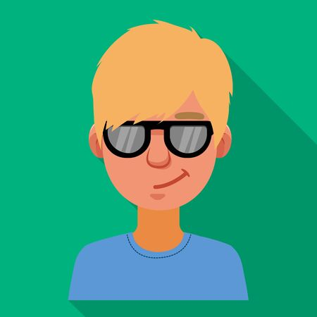 Isolated object of guy and contempt sign. Collection of guy and glasses vector icon for stock.