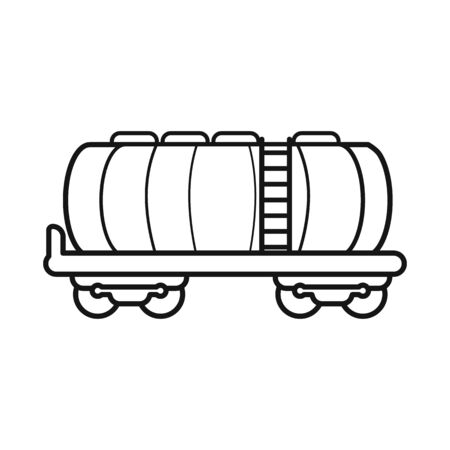Vector illustration of wagon and cistern icon. Graphic of wagon and tank vector icon for stock.